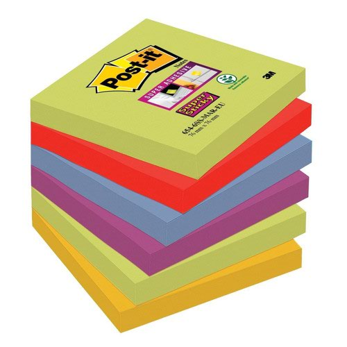 3M Post-it Super Sticky Colour Notes 76x76mm Marrakesh (6) 654-6SS-MAR-EU