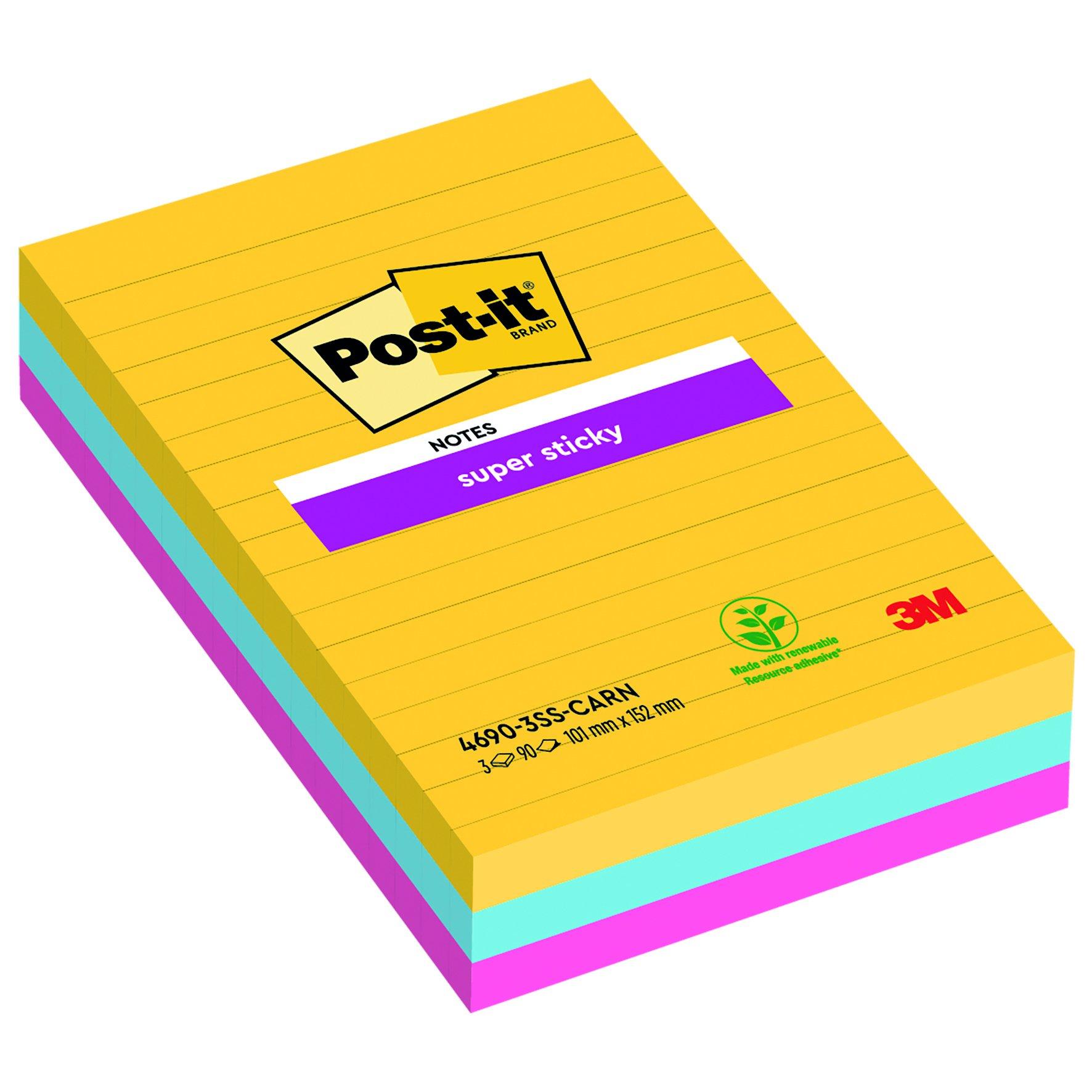 3M Post-it Super Sticky Colour Notes 101x153mm Rio (3) 4690-SS3RIO