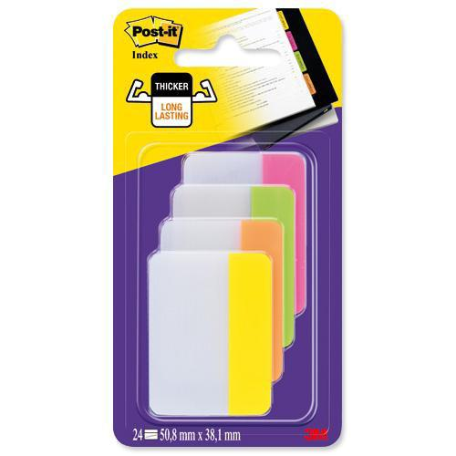 Image for 3M Post-it Strong Index Filing Tabs 50mm Flat Pink/Lime/Orange/Yellow (24) 686-PLOY