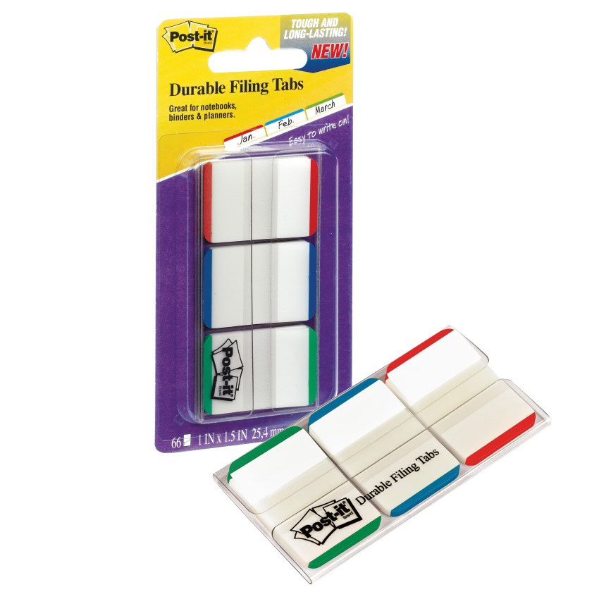 3M Post-it Strong Index Tabs 25mm White & Light Green/Blue/Red (66) 686L-GBR