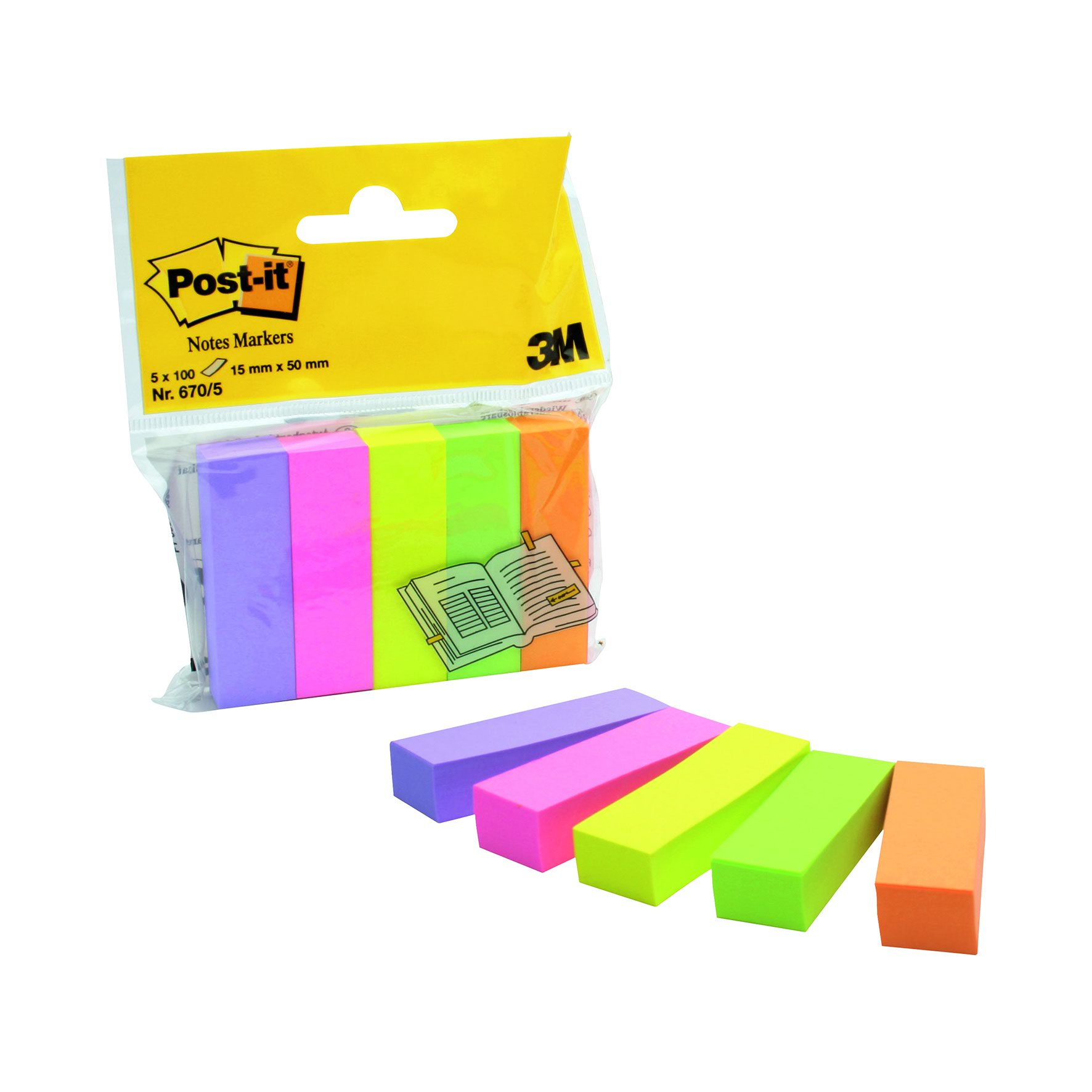 Image for 3M Post-it Page Markers 15x50mm Assorted Pastel/Neon (500) 670-5