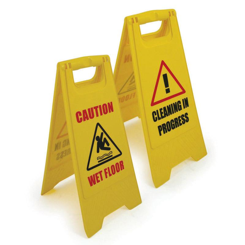Folding Safety Sign Wet Floor Yellow