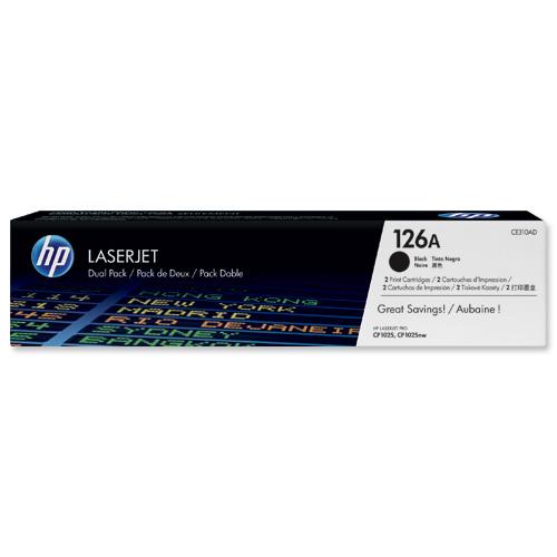 HP No.126A Toner Cartridge No.126A Black (2) CE310AD