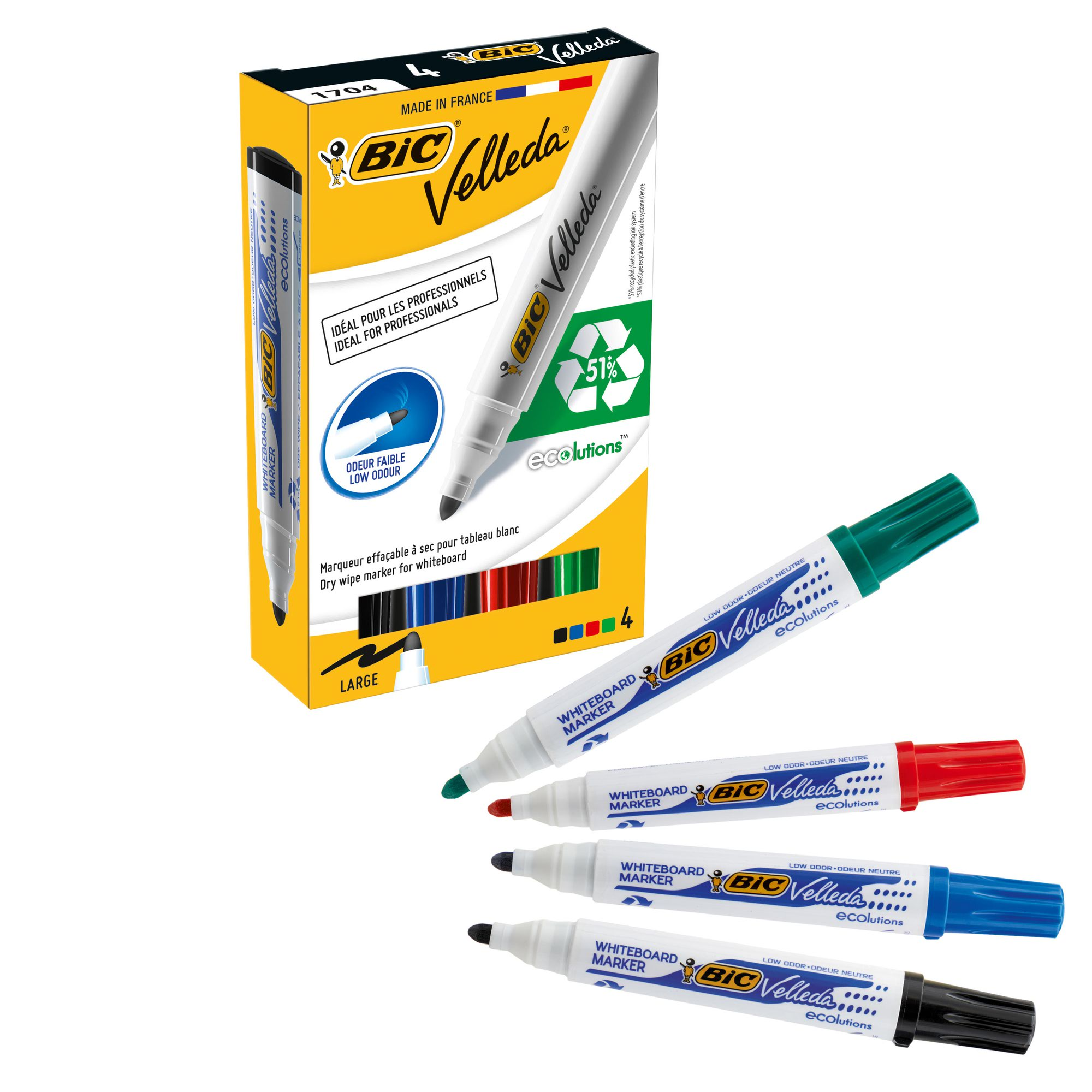 BIC Velleda Whiteboard Marker 1701 Bullet Tip Assorted Colours (4) 8757151