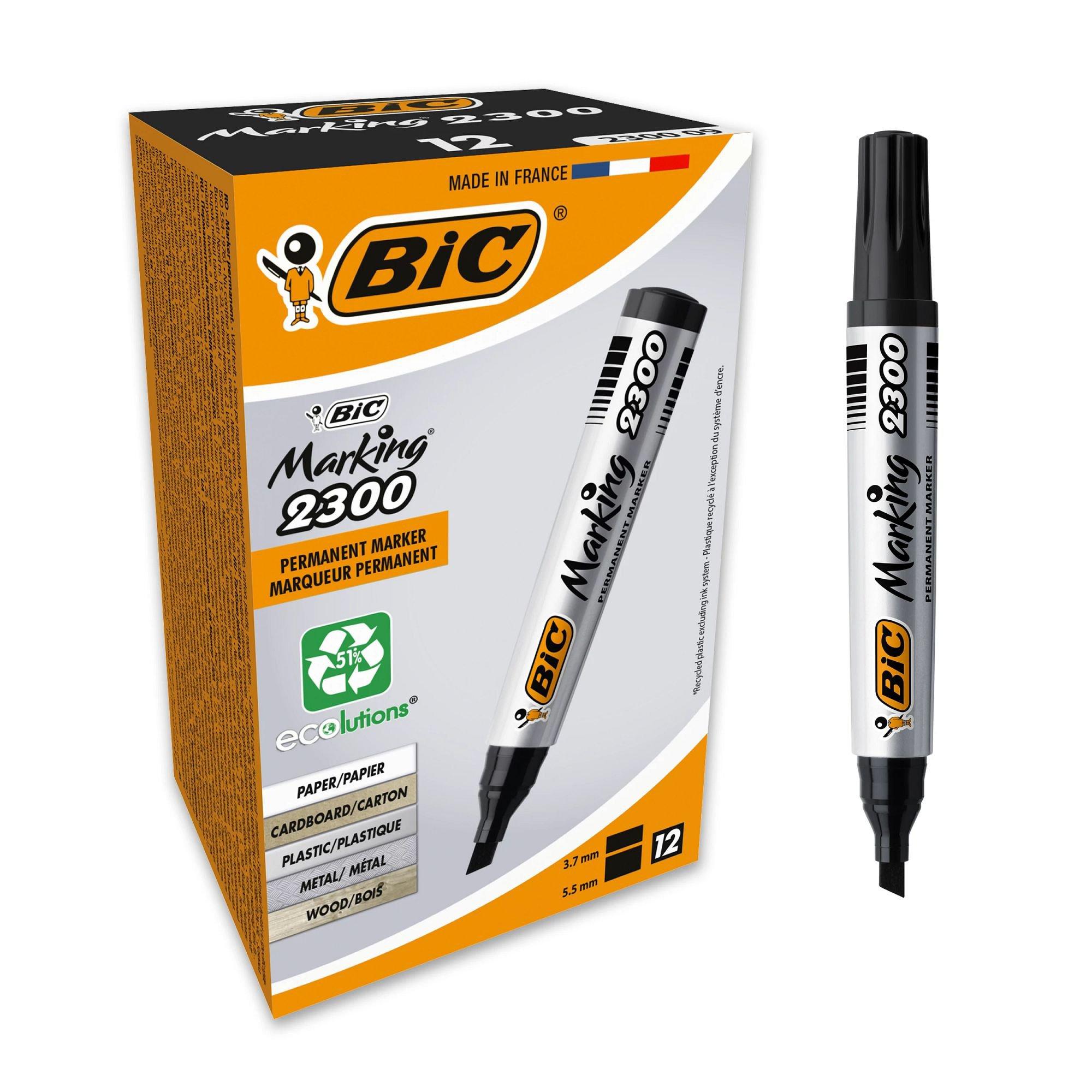 Image for BIC Marking 2300 Permanent Marker Pen Chisel Tip Black 820926