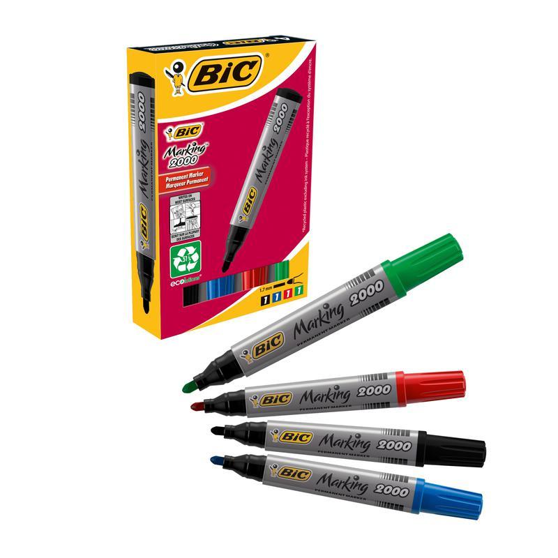 Image for BIC Marking 2000 Permanent Marker Pen Bullet Tip Assorted (4) 8209112