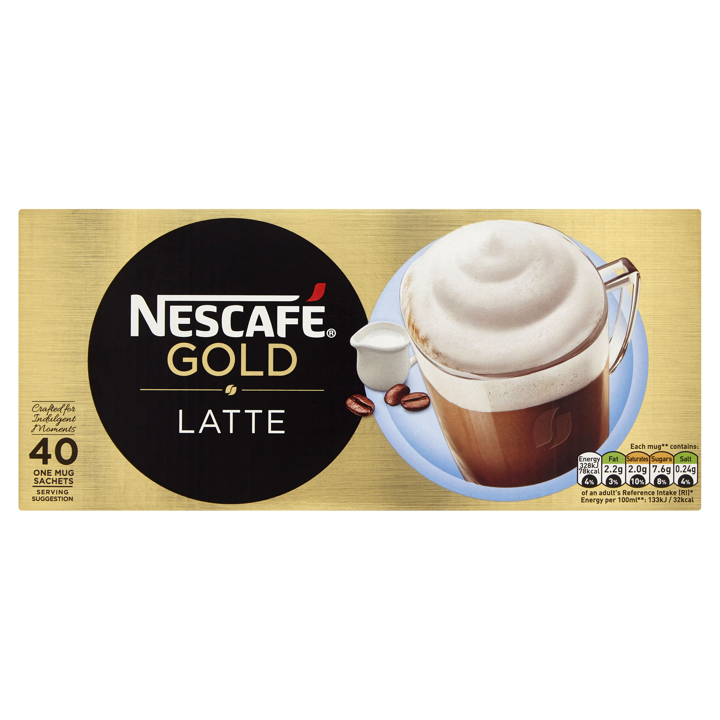 Nescafe Gold Latte Instant Coffee Sachets (Pack 40)