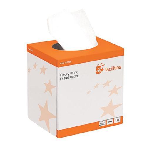 5 Star Facilities Luxury Facial Tissues 2 Ply Cube Box 70 Sheets per Box 24 Boxes