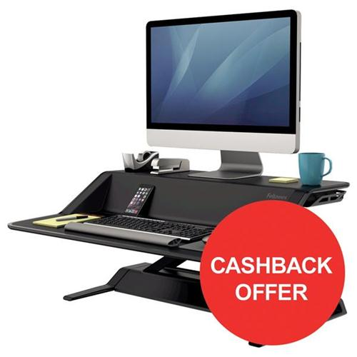 Fellowes Lotus Sit-Stand Workstation Smooth Lift Technology Black Ref 7901 [Cashback Offer] Jul-Sep 2017