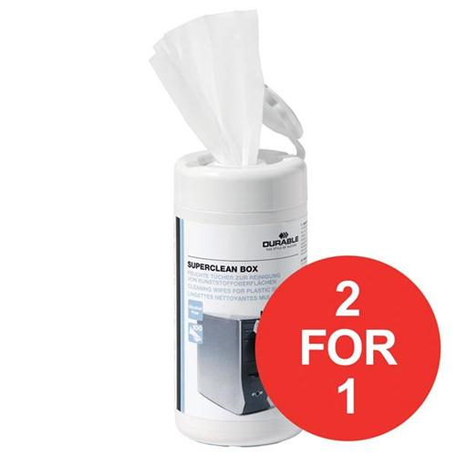 Durable Superclean Tub Moist Cleaning Wipes Pre-saturated Ref 5708 [Tub 100] [2 For 1] Oct-Dec 2017