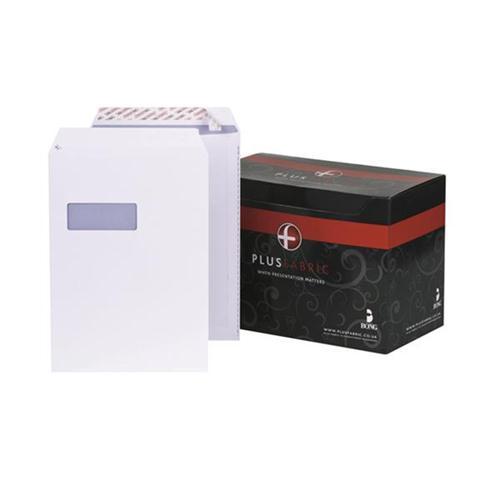 Plus Fabric Envelopes Pocket P&S Window 120gsm C4 White [Pack 250] [FREE Notebook] Oct-Dec 2017