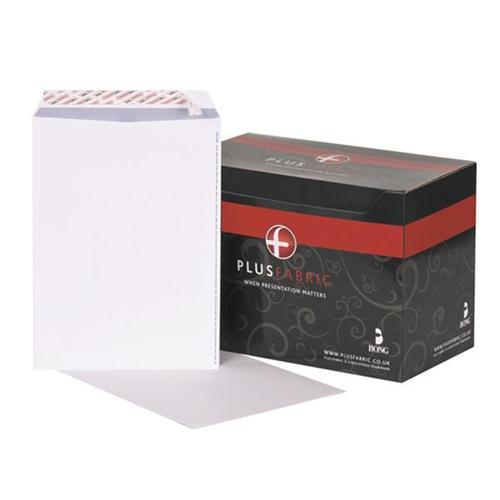 Plus Fabric Envelopes Pocket P&S 120gsm C4 White [Pack 250] [FREE Notebook] Oct-Dec 2017
