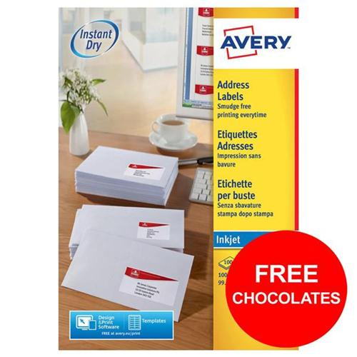 Avery Address Labels QuickDRY Inkjet 10/Sheet Ref J8173-100 [1000 Labels] [FREE Chocolates] Oct-Dec 2017