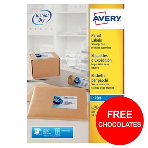 Avery Address Labels QuickDRY Inkjet 8/Sheet Ref J8165 [800 Labels] [FREE Chocolates] Oct-Dec 2017
