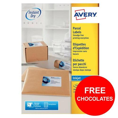 Avery Address Labels QuickDRY Inkjet 2/Sheet Ref J8168-100 [200 Labels] [FREE Chocolates] Oct-Dec 2017