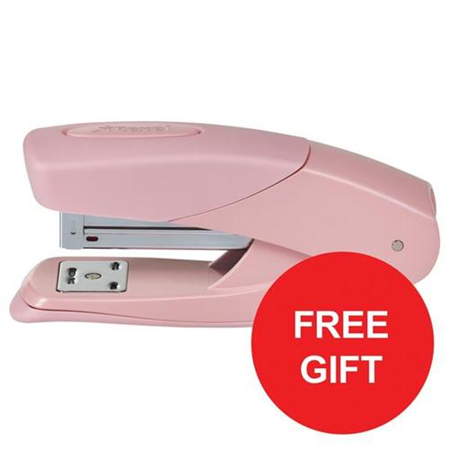 Rexel Matador Half Strip Stapler Pink Ref 2104382 [FREE Scissors] Oct-Dec 2017