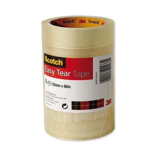 Scotch Easy Tear Transparent Tape 25mmx66m Ref ET2566T6 [Pack 6] [3 For 2] Oct-Dec 2017