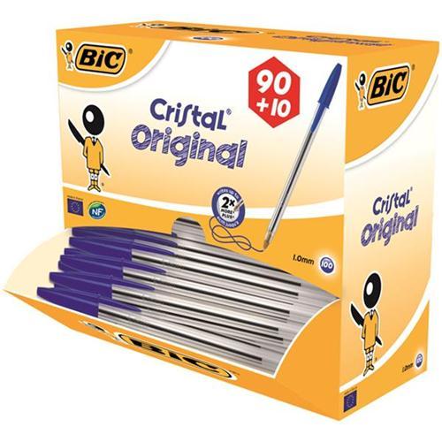 Bic Cristal Ball Pen 0.4mm Line Blue Ref 896039 [Pack 90 plus 10 FREE] [FREE Chocolates] Oct-Dec 2017