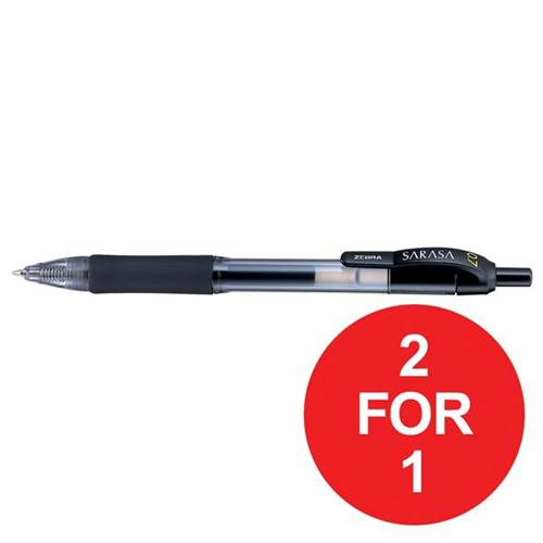 Zebra Sarasa Retractable Rollerball Gel Ink Pen Medium Black Ref 46810 [Pack 12] [2 For 1] Oct-Dec 2017
