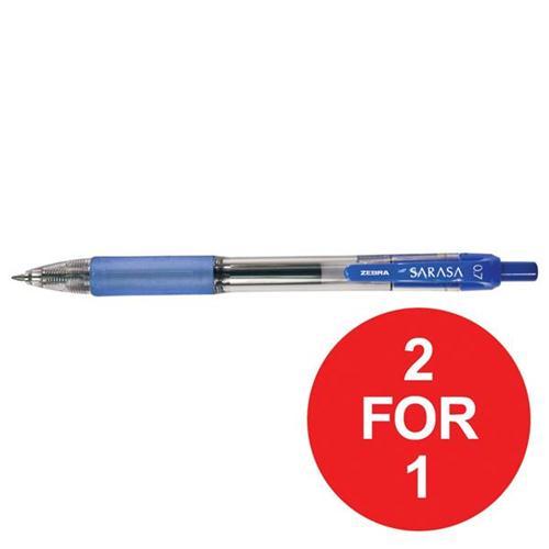 Zebra Sarasa Retractable Rollerball Gel Ink Pen Medium Blue Ref 46820 [Pack 12] [2 For 1] Oct-Dec 2017