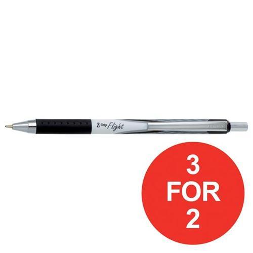 Zebra Z-Grip Flight Ball Pen Medium Black Ref 13301 [Pack 12] [3 For 2] Oct-Dec 2017