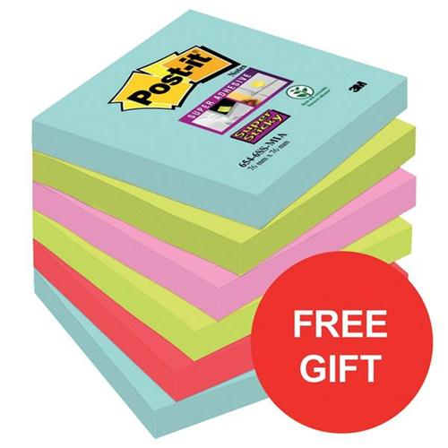Post-It Super Sticky Notes Miami 76x76mm Ref 70005291227 [Pack 6] [FREE Sweets] Oct-Dec 2017