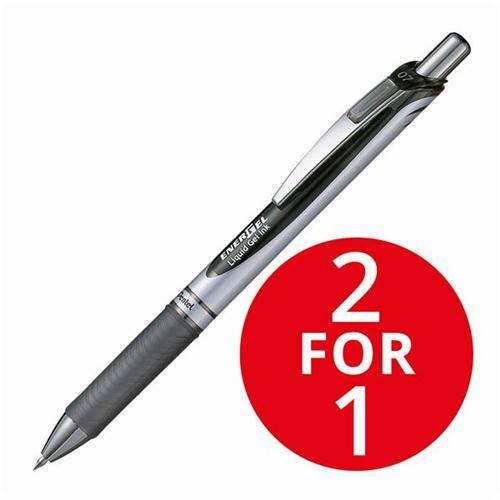 Pentel EnerGel XM Retractable 0.7mm Tip 0.35mm Line Black Ref BL77-A [Pack 12] [2 For 1] Jan 2018