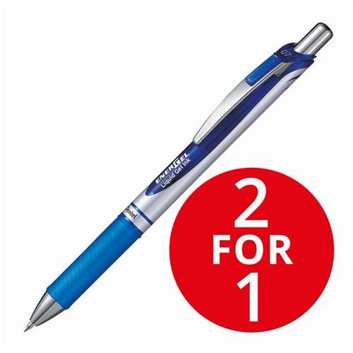 Pentel EnerGel XM Retractable 0.7mm Tip 0.35mm Line Blue Ref BL77-C [Pack 12] [2 For 1] Jan 2018