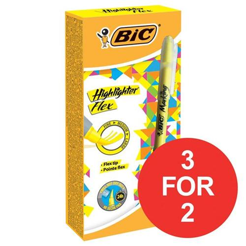 Bic Grip Pen-shaped Highlighter Yellow Ref 942040 [Pack 12] [3 For 2] Jan-Mar 2018