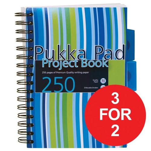 Pukka Pad Project Book Wirebound 3-Divider 80gsm 250pp A5 Assorted Ref PROBA5 [Pack 3] [3 For 2] Apr 2018