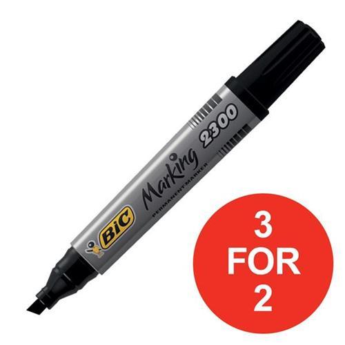 Bic Permanent Marker Chisel Tip 3-5.5mm Line Black Ref 300096 [Pack 12] [3 For 2] Apr 2018