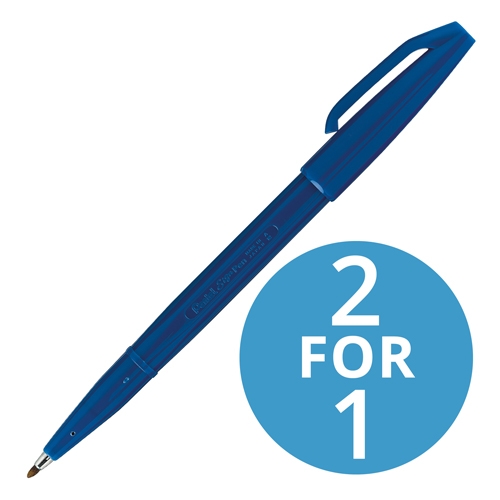 Pentel Sign Pen S520 Fibre Tipped 2.0mm Tip 1.0mm Line Blue Ref S520-C [Pack 12] [2 For 1] Jun 2018
