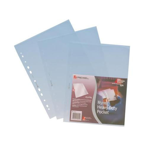 Rexel Nyrex Pocket Heavy-duty Top and Side-opening A4 Clear Ref 11031 [Pack 25]