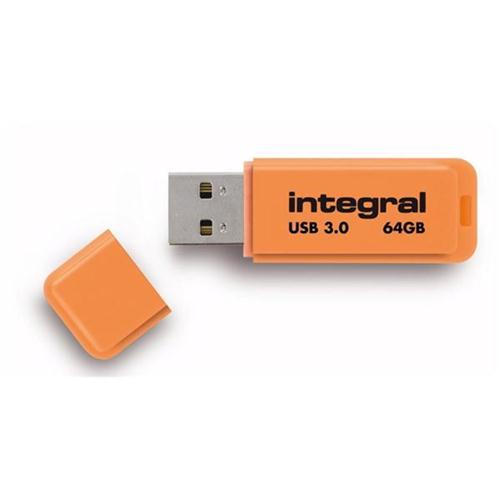 Integral Neon Flash Drive USB 3.0 Orange 64GB Ref INFD64GBNEONOR3.0