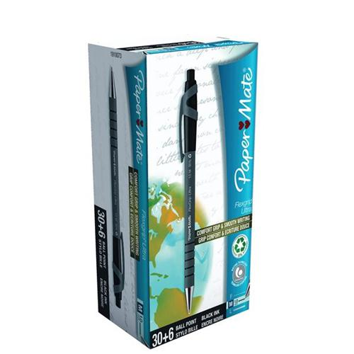Paper Mate Flexgrip Retractable Ball Pen Medium 1.0mm Tip 0.4mm Line Black Ref 1910073 [Pack 36]