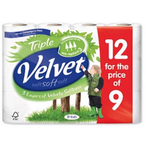 Triple Velvet Toilet Rolls White Ref 1102092 [Pack 12]