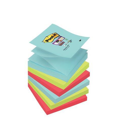 Post-It Super Sticky Z-Notes Miami 76x76mm Aqua Neon Green Pink Poppy Ref 70005291649 [Pack 6]