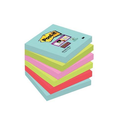 Post-It Super Sticky Notes Miami 76x76mm Aqua Neon Green Pink Poppy Ref 70005291227 [Pack 6]