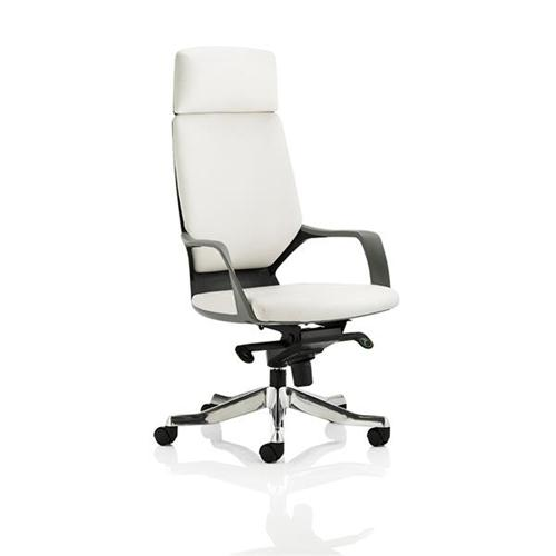 Adroit Executive Chair Static Arms Flat Packed Bonded Leather White