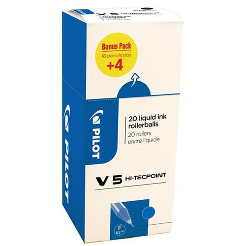 Pilot V5 Rollerball Pen Liquid Ink Blue Ref 3131910516514 [Pack 20] [20 For 16]