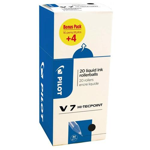 Pilot V7 Rollerball Pen Liquid Ink Black Ref 3131910516538 [Pack 20] [20 For 16]