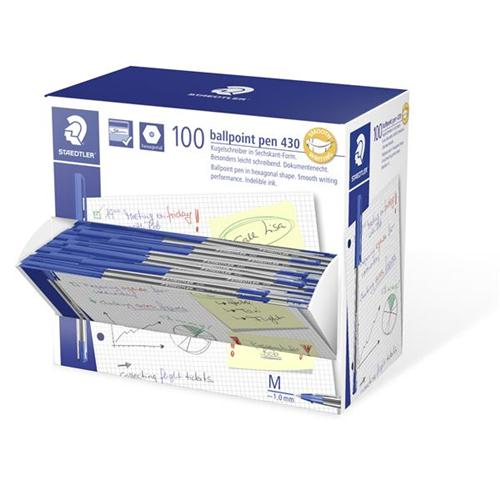 Staedtler 430 Stick Ball Pen Medium 1.0mm Tip 0.35mm Line Blue Ref 430M-3 [Pack 100]