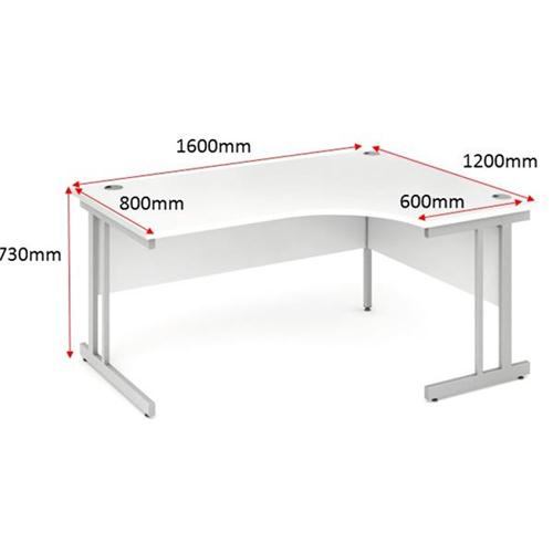 Trexus Corner Desk Right Hand Cantilever Leg 1600/1200mm White
