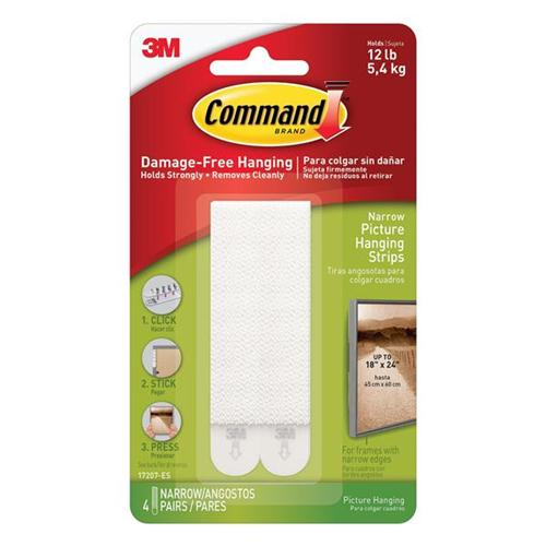 Command Picture Hanging Strips Narrow Ref 17207 [4 Pairs]