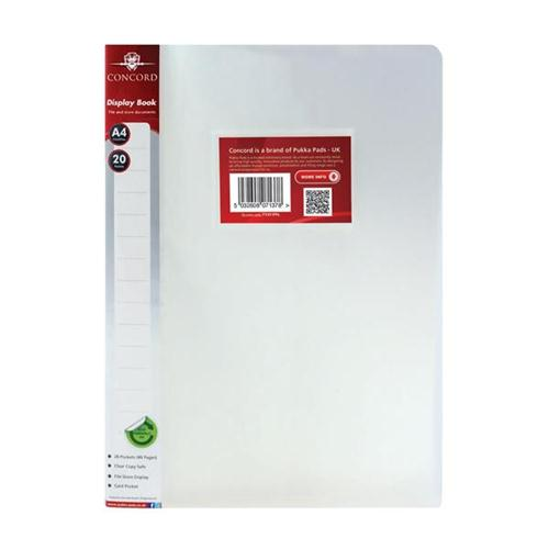 Concord Display Book Polypropylene 20 Pockets A4 Clear Ref 7137-PFL [Pack 12]