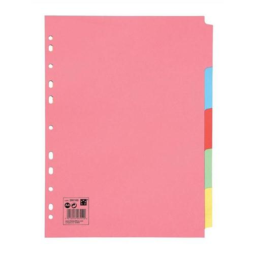 5 Star Office Subject Dividers Multipunched Manilla Card 5-Part A4 Assorted