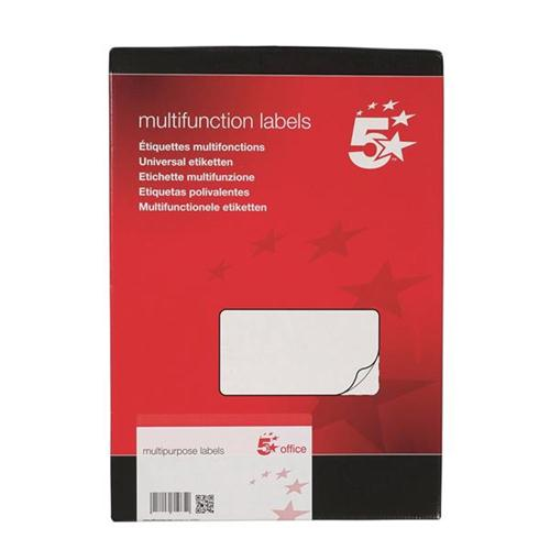 5 Star Office Multipurpose Labels Laser 14 per Sheet 99.1x38.1mm White [1400 Labels]