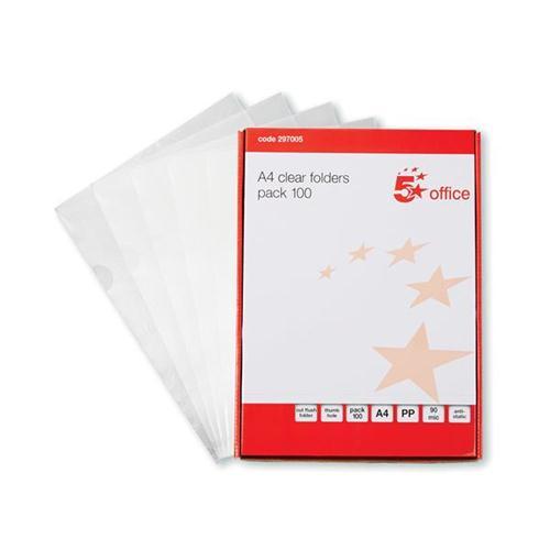 5 Star Office Folder Cut Flush Polypropylene Copy-safe 90 Micron A4 Clear [Pack 100]