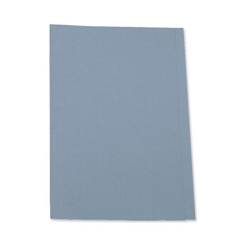 5 Star Office Square Cut Folder Recycled Pre-punched 250gsm Foolscap Blue [Pack 100]