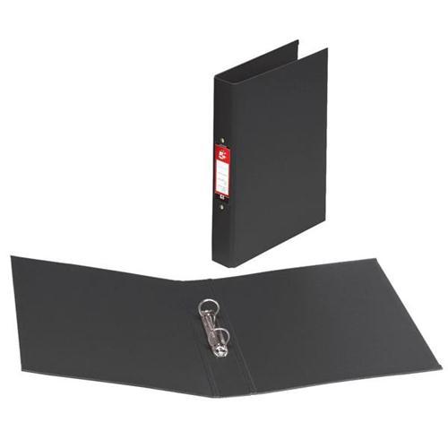 5 Star Office Ring Binder 2 O-Ring Size 25mm Polypropylene A4 Black [Pack 10]